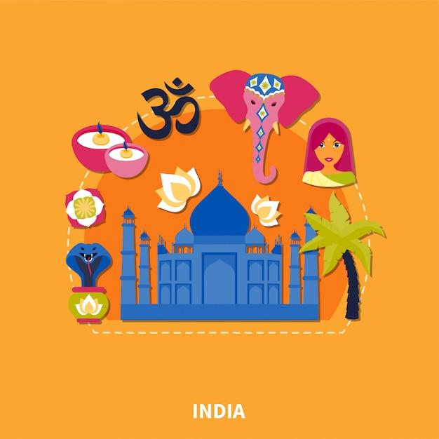Voyage En Inde Fond Vecteur gratuit