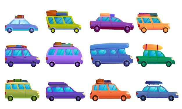 Voyage sur jeu d'icônes de voiture, style cartoon Vecteur Premium