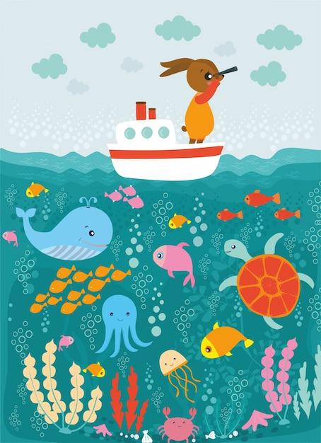 Voyage en mer avec le lapin Vecteur gratuit