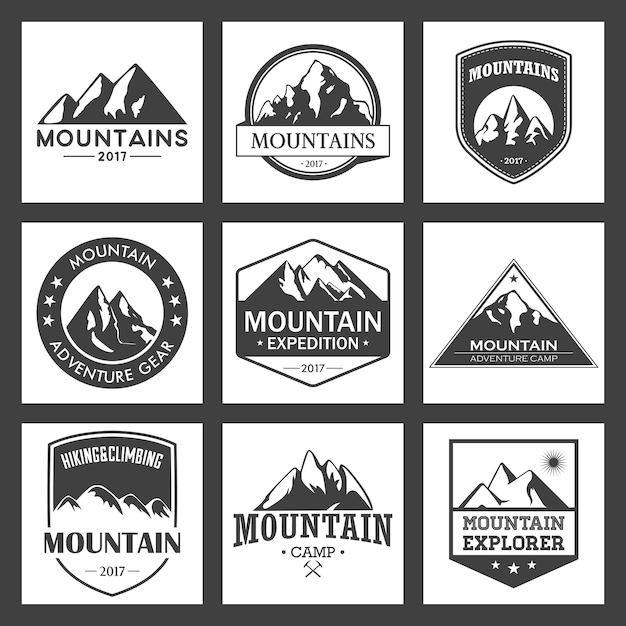 Voyage de montagne, logo ensemble aventures en plein air. insignes de randonnée et d'escalade pour les organismes de tourisme, les événements, les loisirs en camping. Vecteur Premium