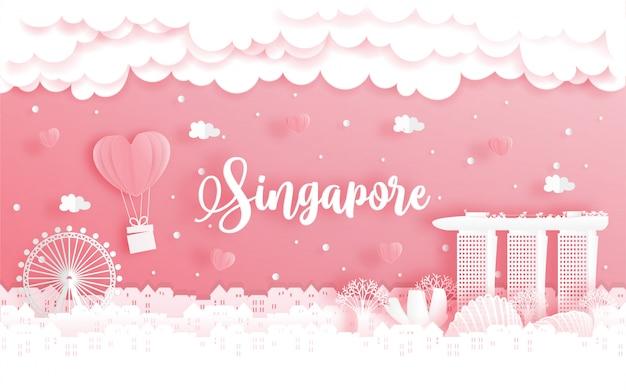 Voyage de noces et carte de saint valentin avec concept de voyage à singapour Vecteur Premium