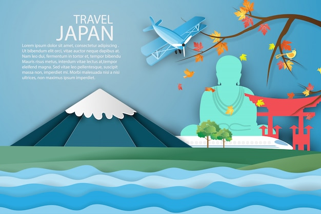 Voyage de paysage japonais dans le mont fuji. Vecteur Premium