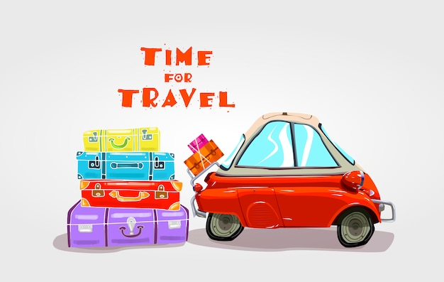 Voyage sur la route. voyage en voiture. Vecteur Premium