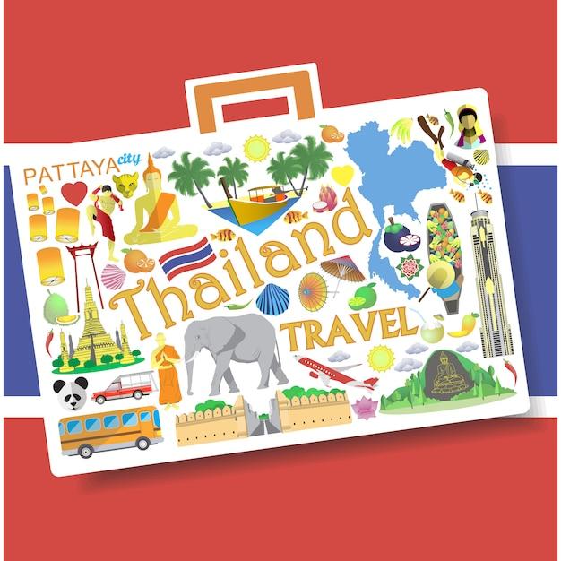 Voyage en thaïlande. seticons et symboles en forme de valise Vecteur Premium