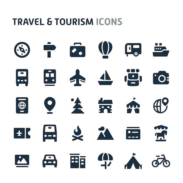 Voyage Et Tourisme Icon Set. Série D'icônes Fillio Black. Vecteur Premium