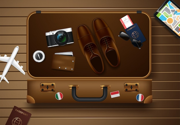 Voyage et tourisme illustration vectorielle Vecteur Premium