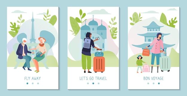 Voyage Touristique à L'étranger, Concept De Bannière De Visite Touristique, Monuments De Différents Pays, Illustration Vecteur Premium