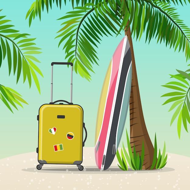 Voyage de vacances d'été Vecteur Premium