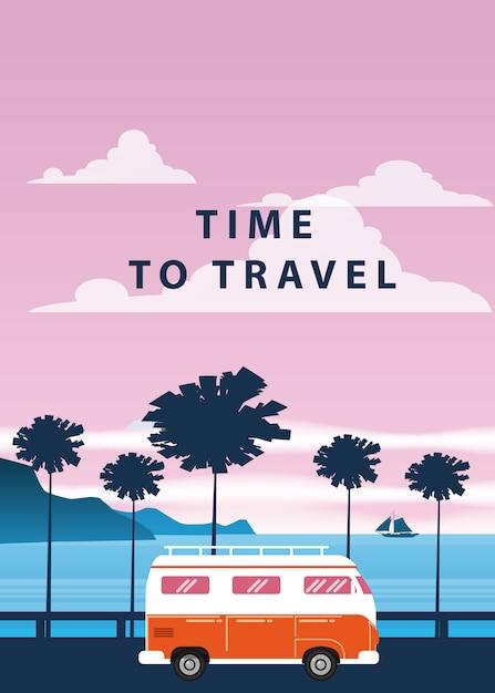Voyage de voyage. coucher de soleil, océan, mer, paysage marin. surf van, bus Vecteur Premium