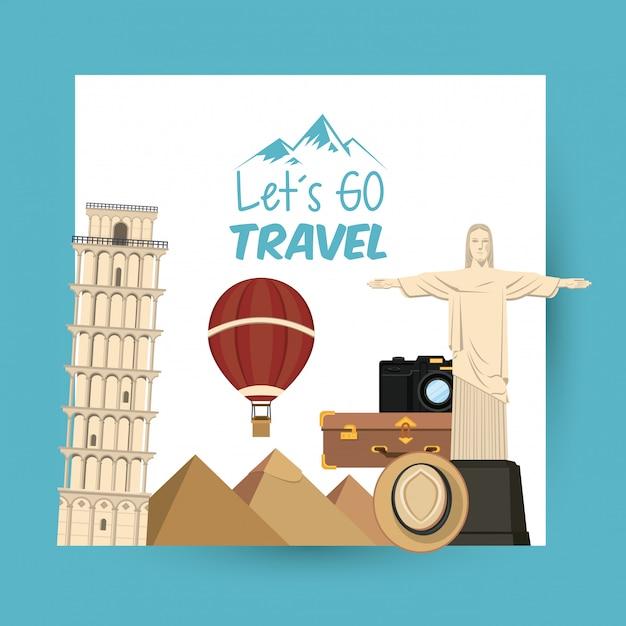 Voyage voyage et lieux de tourisme Vecteur gratuit
