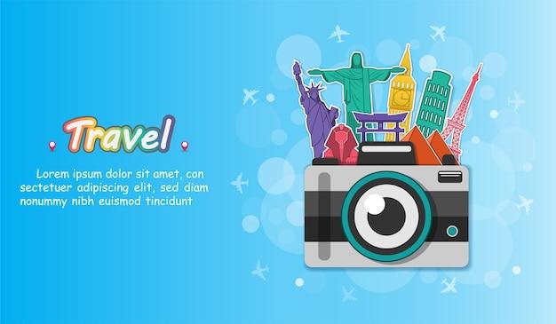 Voyager en caméra autour du monde. Vecteur Premium
