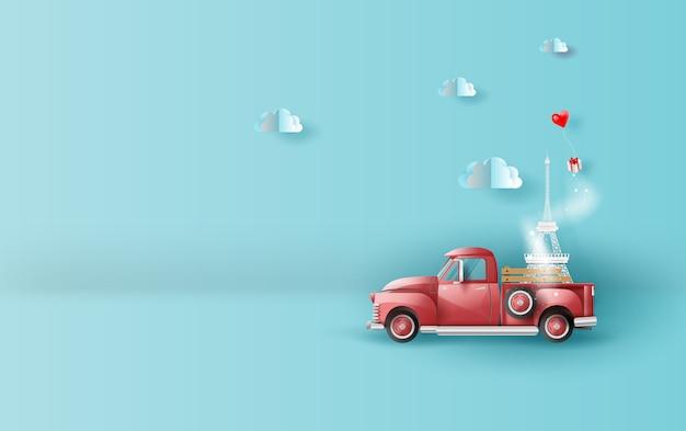 Voyager en vacances avec une camionnette rouge classique Vecteur Premium