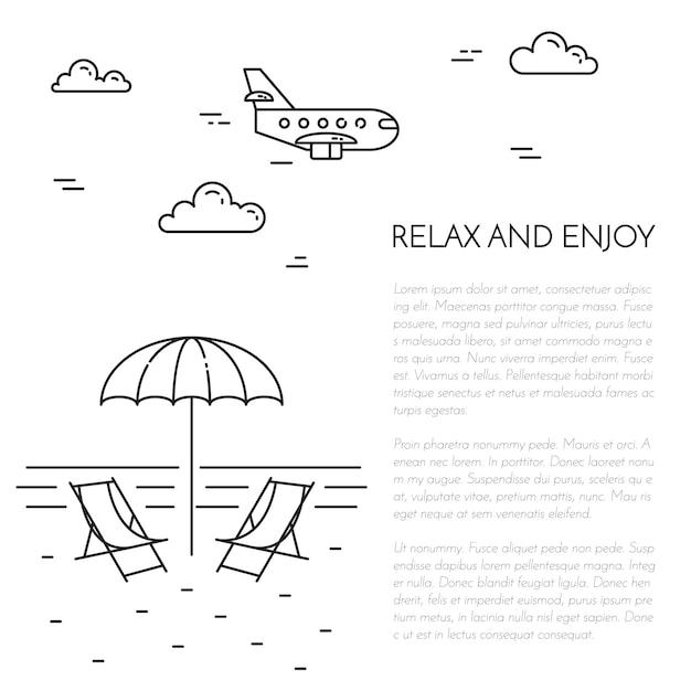 Voyager vertical bannière noir et blanc avec parasol, salon, mer, avion. Vecteur Premium