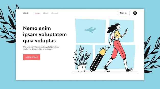 Voyageur Aérien Avec Bagages Marchant Dans L'aéroport Vecteur Premium