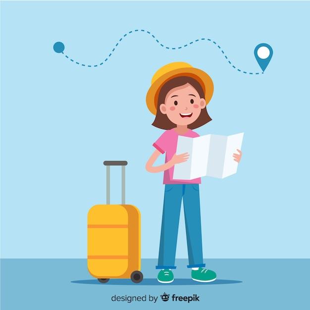 Voyageur fille Vecteur gratuit