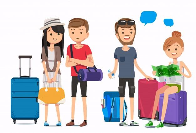 Voyageurs multiculturels Vecteur Premium