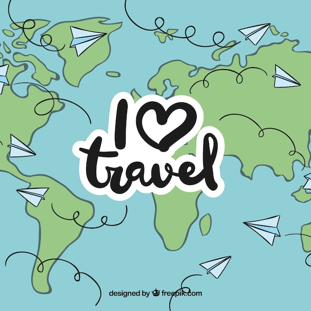 Voyagez dans le monde entier par avion Vecteur gratuit