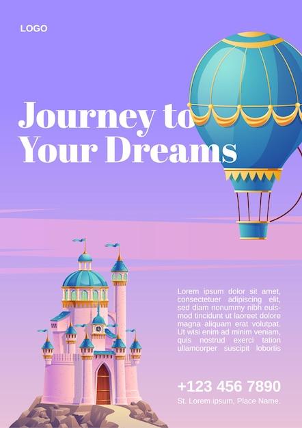 Voyagez Vers Vos Rêves. Affiche Avec Ballon à Air Chaud Et Château Fantastique. Vecteur gratuit