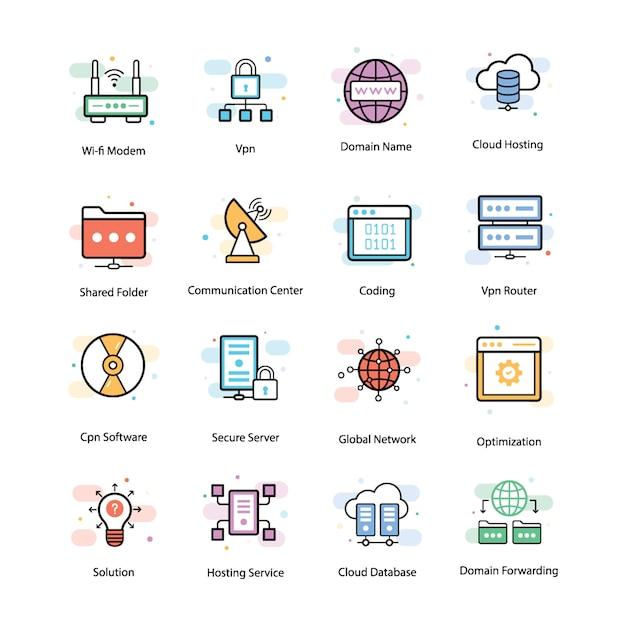 Vpn et icônes de mise en réseau Vecteur Premium