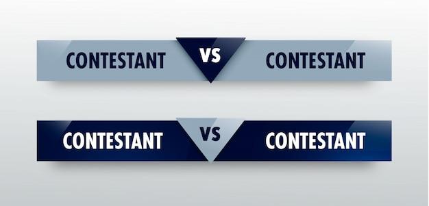 Vs contre conseil de rivaux pour la compétition sportive. bataille vs match, concept de jeu compétitif Vecteur Premium