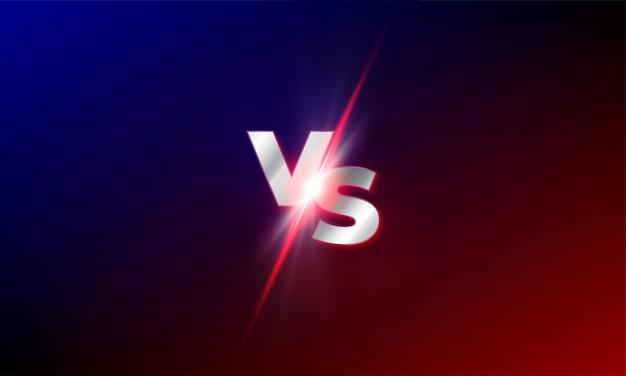 Vs Contre Fond. Rouge Et Bleu Mma Lutte Compétition Vs Lumière Souffle éclat Modèle Vecteur Premium