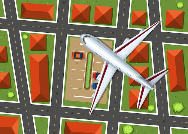 Vue aérienne, de, avion, survoler, voisinage Vecteur gratuit