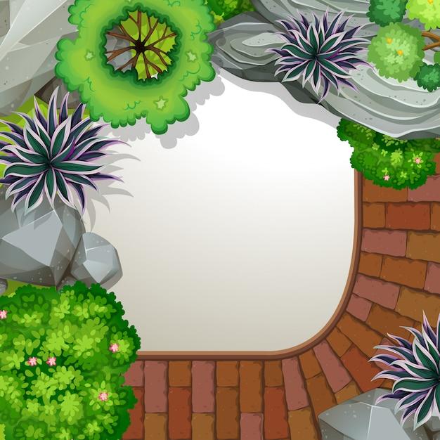 Vue aérienne du jardin Vecteur gratuit