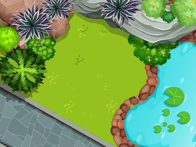 Une vue aérienne du jardin Vecteur gratuit