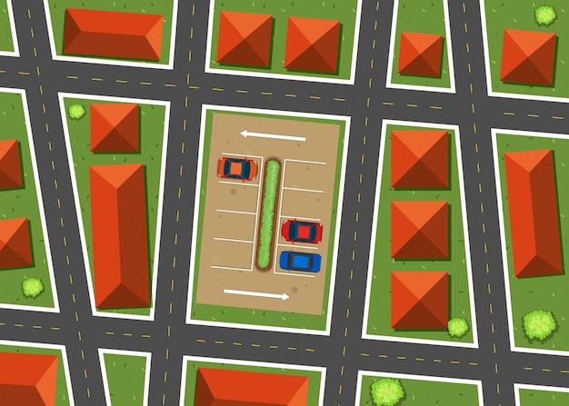 Vue aérienne du quartier avec des maisons Vecteur gratuit