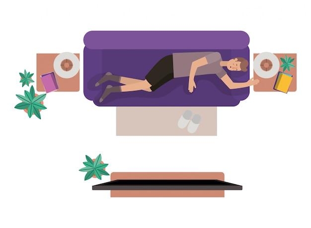 Vue aérienne de l'homme au repos personnage avatar Vecteur Premium