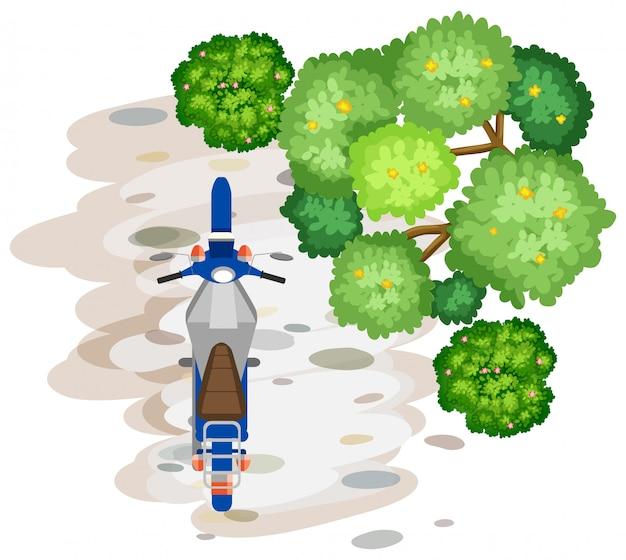Vue aérienne de la moto Vecteur gratuit