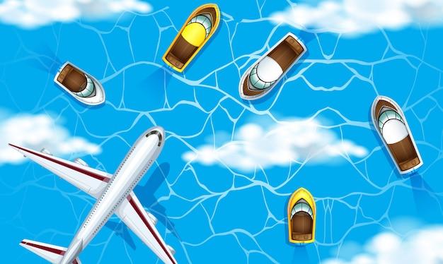 Une vue aérienne de l'océan Vecteur gratuit