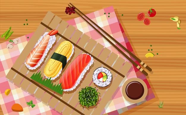 Vue aérienne de sushi Vecteur gratuit