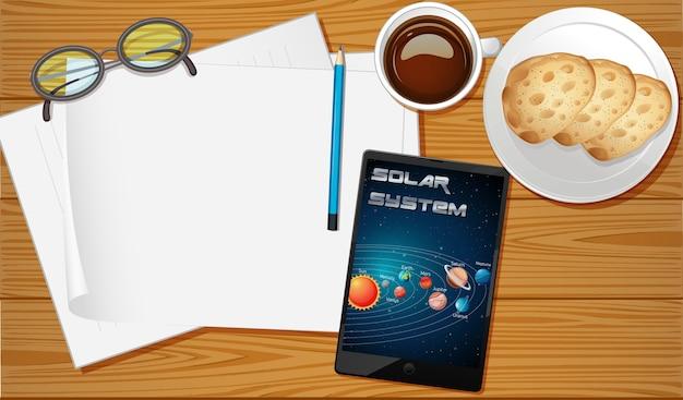 Vue Aérienne De La Table Avec écran Mobile Vecteur Premium