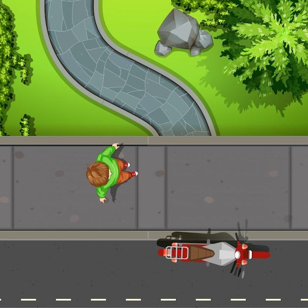 Vue aérienne, de, trottoir Vecteur gratuit