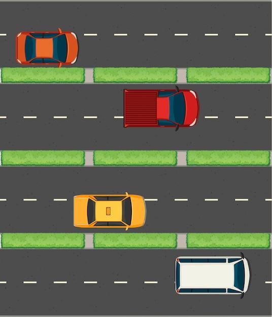 Vue aérienne des voitures sur les routes Vecteur gratuit