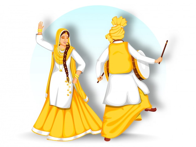 Vue Arrière Du Punjabi Man Playing Dhol (drum) And Woman Performing Bhangra Dance On White Background. Vecteur Premium