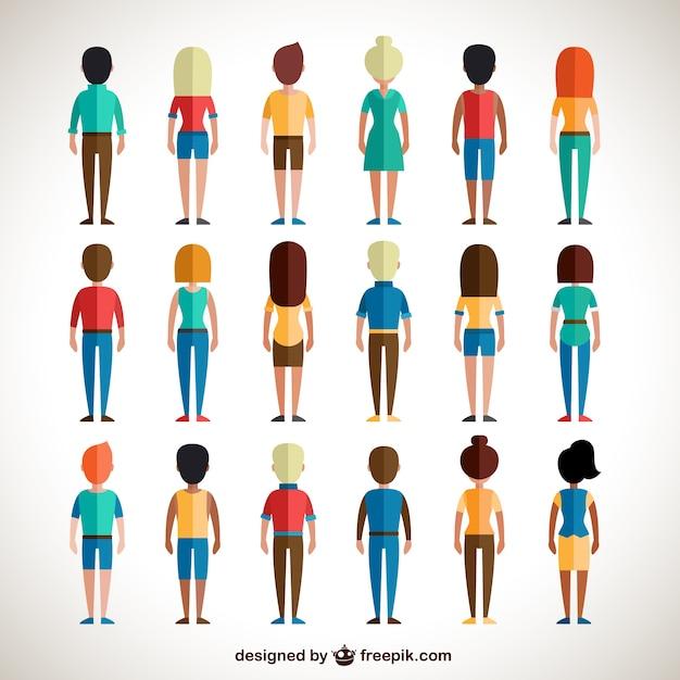 Vue arrière de gens colorés Vecteur gratuit