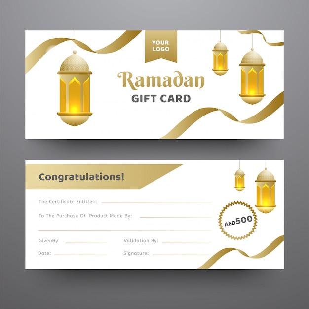 Vue avant et arrière de la carte-cadeau du ramadan ornée d'une pendaison Vecteur Premium