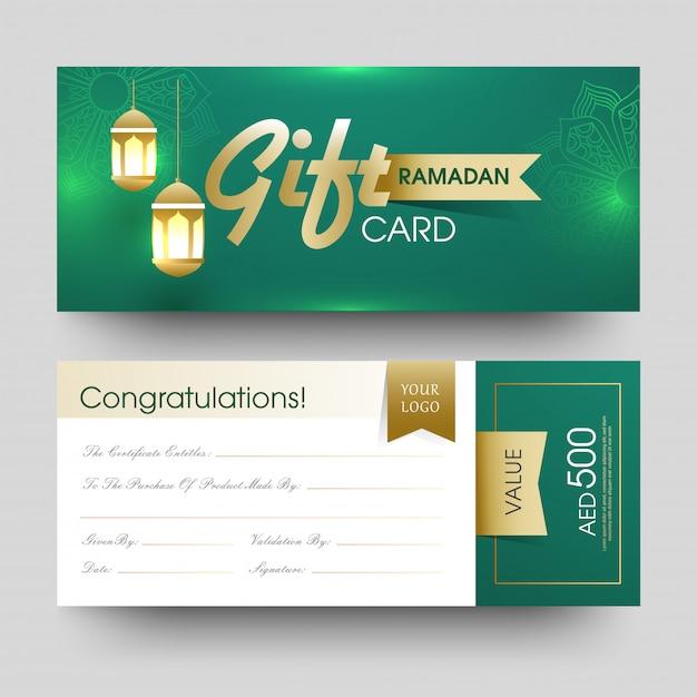 Vue avant et arrière de la carte-cadeau ramadan avec suspension illuminent Vecteur Premium