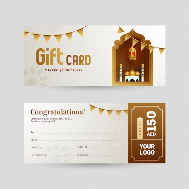 Vue avant et arrière de la disposition des cartes-cadeaux ou des bons cadeaux avec mosquée f Vecteur Premium