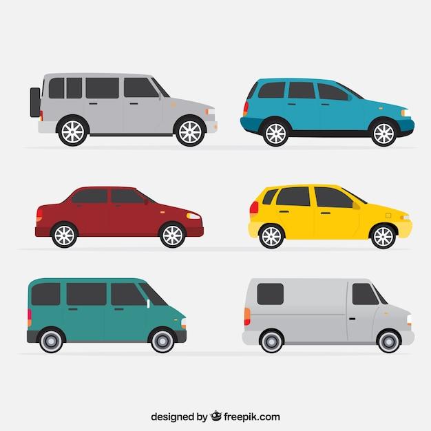 Vue de côté de six véhicules dans la conception plate Vecteur gratuit