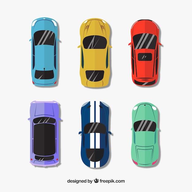 Vue de dessus de six voitures diff rentes avec pare brise r fl chissant t l charger des - Voiture vue de haut ...