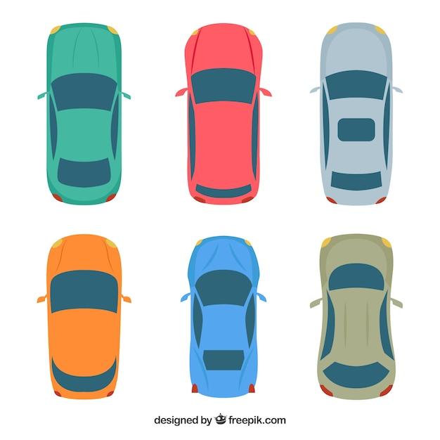 Vue de dessus de six voitures t l charger des vecteurs gratuitement - Voiture vue de haut ...