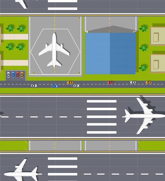 Vue de dessus de l'aéroport sans soudure Vecteur Premium