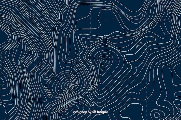 Vue de dessus arrière-plan de lignes topographiques Vecteur gratuit