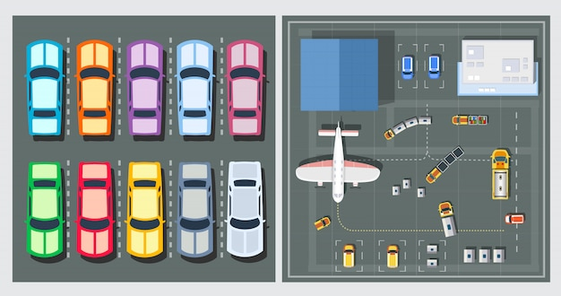 Vue de dessus des avions Vecteur Premium