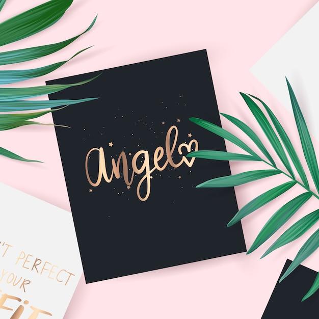 Vue de dessus avec la carte. angel phrase dessinée à la main. Vecteur Premium