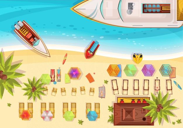 Vue de dessus de composition de vacances de plage, y compris les bains de soleil sur les chaises longues bar des bateaux et des planches de surf palmiers vector illustration Vecteur gratuit