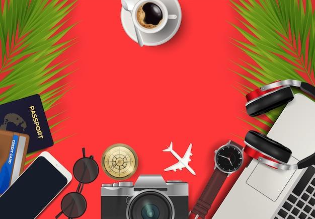 Vue de dessus sur le concept de voyage et de vacances du fond du monde Vecteur Premium